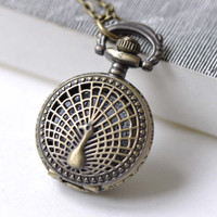 1 PC Antique Bronze Small Size Peacock Pocket Watch Necklace CHAIN INCLUDED 27x27mm A7966