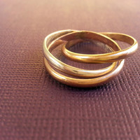 Mixed Metal Russian Wedding Ring, Silver, Rose Gold, Yellow Gold, Gold Fill Ring, Roller Ring, Spinner Ring, Interlocked Rings