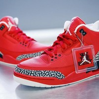 Nike Air Jordan Retro 3 III Red AJ3 Discount Men Sports Basketball Shoes Sale Online