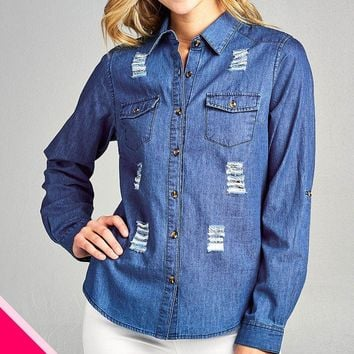 Ladies fashion plus size 3/4 roll up sleeve distressed chambray shirts
