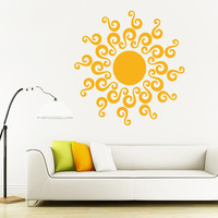 Wall Decal Vinyl Sticker Decals Art Decor Design Sun Sunshine Moon Stars Night Nural Pattern Damask Dorm Fashion Bedroom Style  (r1179)