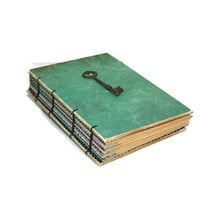 Teal Guest Bookl with vintage skeleton key - Journal -Birthday gift -  Notebook