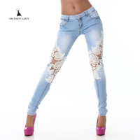 Women Jeans Patchwork Lace Floral Skinny Jeans Hollow out Casual trousers women Denim Pencil Pant High Waist sexy Pants