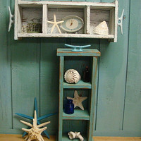 Shelf Shadowbox Cabinet Crate Tray Beach House Nautical Country Living Style Turquoise White