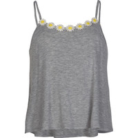 Full Tilt  Daisy Applique Girls Swing Tank Grey  In Sizes