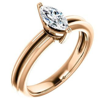0.50 Ct Marquise Solitaire Diamond Engagement Ring 14k Rose Gold