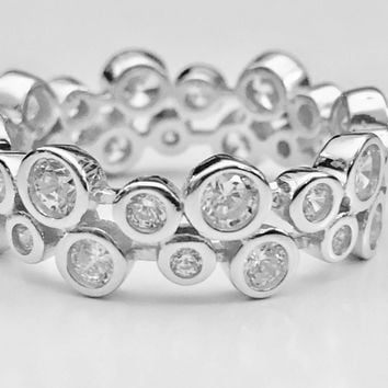 Eternity Ring, Bubble Ring, Stackable Ring, Cubic Zirconia Ring, Cluster Ring, Sterling Silver Ring, Ring, Gifts for Her