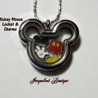Silver Mickey Mouse Floating Locket, Charms & Necklace (Mickey Charms) • 35x30mm