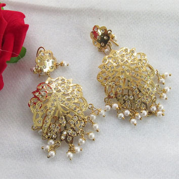 Handmade Gold Plated Jadau Golden Indian India Earrings Jewelry/ Pearl Earrings/ Mughal Muslim Pakistani Earrings Jewelry/Bollywood Earrings