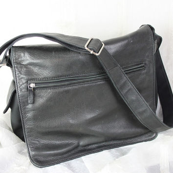 Fossil Black Leather Nylon Crossbody Organizer Messenger Mens Womens Handbag