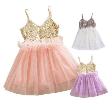 Girls sequins waist dress flower dresses net yarn Peng Peng Kids Girls Princess Sequins Toddler Tulle Lace Tutu Slip Dress