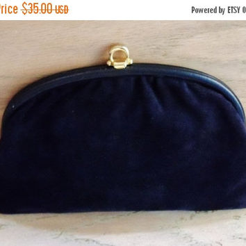 30% OFF Vintage Black Suede Clutch Purse Made in Italy Wedding Opera Bridal Party Evening Gift for Her Christmas Birthday