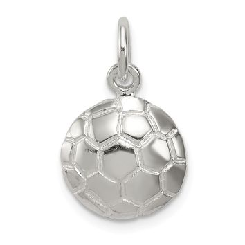925 Sterling Silver Soccer Ball Charm and Pendant