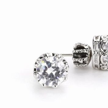 Juicy Couture Princess Cubic Zirconia Stud Earrings Silver-Tone