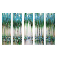 Flow of Green & Blue Abstract Canvas Wall Art Oil Painting