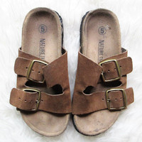 Wms Vintage 1990s Leather Slip On Birkenstock Style Sandals Sz 5