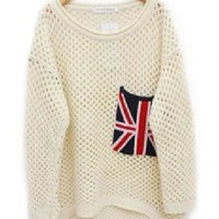 Beige Cut Flag Pullovers Loose Sweater For Woman