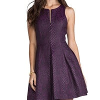 Tibi Cobra Jacquard Sleeveless Dress in Purple