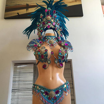 Blue Professional Samba Costume, Carnival and Showgirl