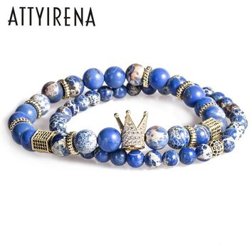 2pcs/set Bead Bracelet Crown Charm Bangle Natural Blue Emperor Stone BeadsBuddha Bracelet for Women and Mens Pulseras Masculina