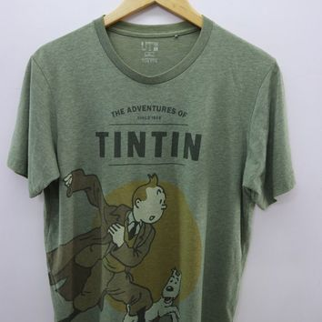 Vintage The Adventure Of Tintin Shirt Big Logo Cartoon Anime Streetwear Top Tee T-shirt Size L