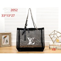 LV tide brand female transparent jelly handbag shoulder bag Black