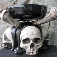 Bone China - 3 Skull Serving Dish - Halloween - Horror - Fantasy - Movie Quality Prop