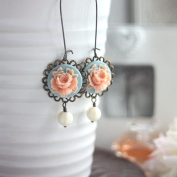 Peach Pink, Aqua Blue Rose Flower Earrings. Something Blue Earrings. Bridesmaid Gifts. Summer. Peach Pink Wedding. Country Cottage Wedding.