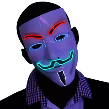 4 Multi Color V for Vendetta EL Wire LED Mask
