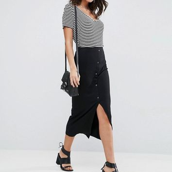 ASOS Rib Popper Midi Skirt at asos.com