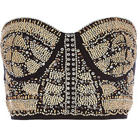 River Island Womens Black embellished front bustier crop top