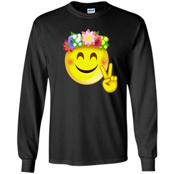Hippie Flower Power Crown Smiley Pacea Sign Emoji T-Shirt shirt