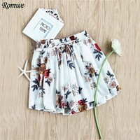 ROMWE Women Shorts Casual Mid Waist Loose Shorts 2017 Summer White Floral Print Random Drawstring Shirred Waist Skort