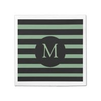 Modern Sage Green and Black Stripes Monogram Paper Napkin