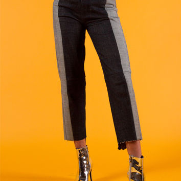Two Tone Reconstructed Raw Hem Denim Jeans