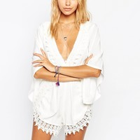 Tiger Mist Ever So Sweet Playsuit with Crochet Trim