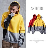 Round-neck Long Sleeve Autumn Men's Fashion Patchwork Hoodies [10895414851]