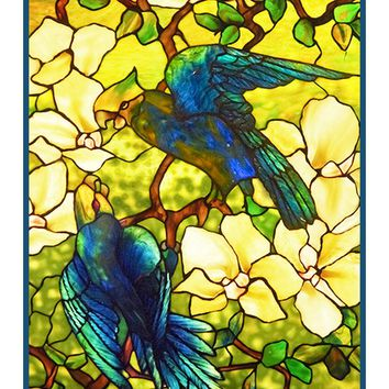 The Pair of Parrot Birds inspired by the work of Art Nouveau and Stained Glass Artist Louis Comfort Tiffany  Counted Cross Stitch or Counted Needlepoint Pattern