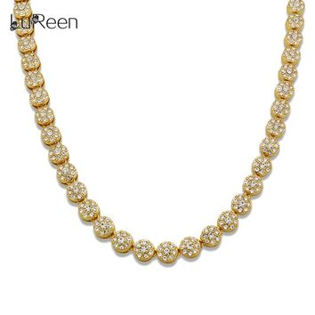 LuReen Hiphop 10mm Hiphop Round Shape Men Necklace Chain Bling Iced Out Tennis Gold Chian Necklace Rapper Jewelry Gift LN0232
