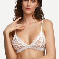 White Floral Embroidered Lace  Bralette