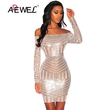 ADEWEL Sexy Glitter Sequin Nude Mesh Long Sleeves Shiny Club Dress Women Off Shoulder Bodycon Party Mini Dresses 2018 Vestidos