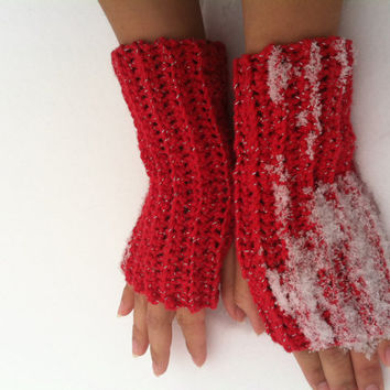 Fingerless gloves, gloves, crochet, handmade, ready to ship, free shipping, made to order, women, gifts, custom made, red shimmery yarn