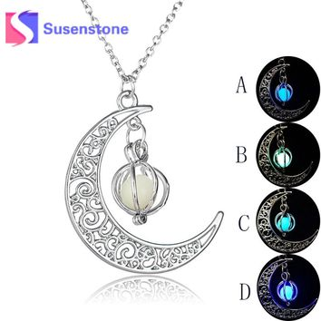 Crescent Moon Glow In The Dark Necklaces Pumpkin Glowing Stone Luminous Pendant Silver Chain Necklaces Fluorescent Pendants Gift