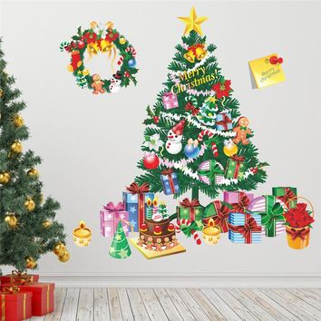 Christmas Tree Gift Wall Stickers Living Room Bedroom Store Window Wall Decals Christmas New Year Gift Home Decor Mural Poster
