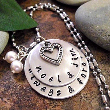 Valentine's Day Jewelry, Personalized Jewelry, Wedding Jewelry, Always and Forever Jewelry, Hand Stamped Jewelry