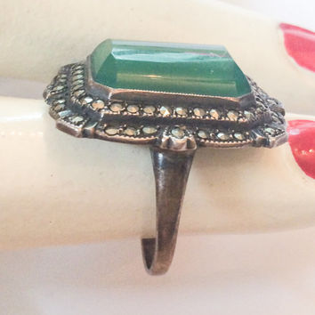 BLACK FRIDAY SALE, Chrysoprase Ring Marcasite Sterling Silver Art Deco 1920s Vintage Jewelry