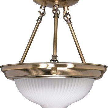 Semi Flush Mount Ceiling Light Fixture in Antique Brass Finish