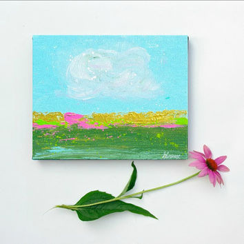 Small Original painting. Abstract Landscape painting on canvas. Small Abstract Art
