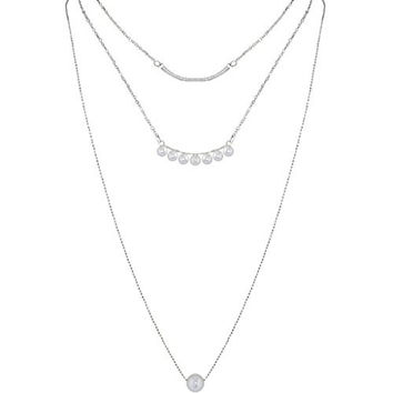 Humble Chic Women's Layered Pearl Necklace - Silver - Triple Strand Tiered Layering Pendants