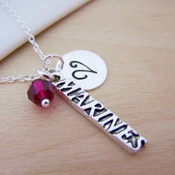 Marines Military Charm Swarovski Birthstone Initial Personalized Sterling Silver Necklace / Gift for Her